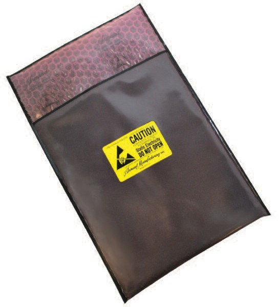 Series 4304/4 Static Dissipative/Black Conductive Cushion Pouch, Flap Closure