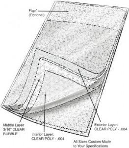 Series 1034 Clear Cushion Pouch, Flap Closure