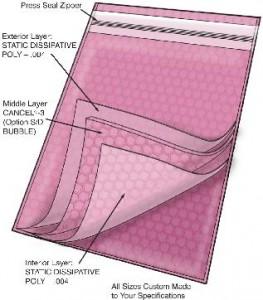 Series 2084 Static Dissipative Zip Close Cushion Bag